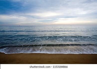 This is the dawn view of Haeundae Beach in Korea.