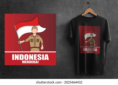 This is the design of Black T-Shirt for Indonesian Independence day 76 - Shutterstock ID 2025464432