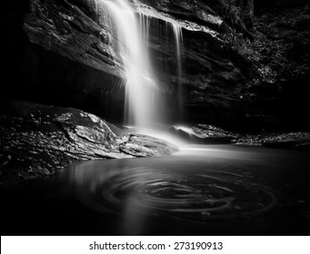 This dramatic black and white artistic waterfall is one of many waterfalls in the state of North Carolina which is known for beautiful scenery.
