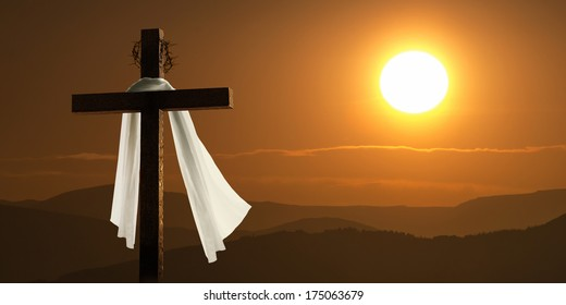 This dramatic mountain sunrise lighting and Easter Cross makes a great Easter photo illustration of Jesus dying on the cross and rising again.