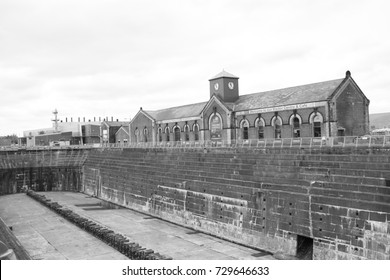 This is the dry dock that Titanic once sat, many years before it's disaster.  The dock sits in Belfast, Northern Ireland.