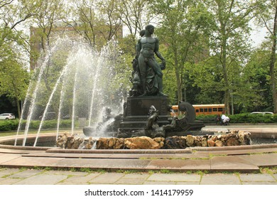 This elaborate sculptural waterworks is Bailey Fountain at grand army plaza Brooklyn Named after Brooklyn based financier and philanthropist Frank Bailey 1865-1953 build 1932 Brooklyn NY June 1 2019