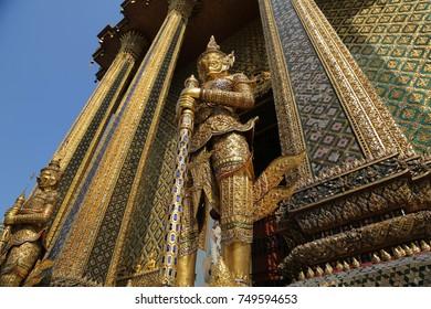 This is the entrance of the Prasat Phra Thep Bidon in the Grand Palace or Phra Borom Maha Ratcha Wang in Bangkok, Thailand