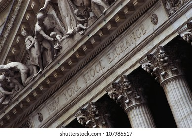 This is the exterior of the New York Stock Exchange on Wall Street.