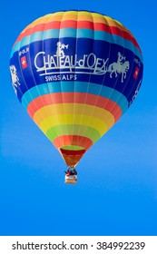 This is the famous balloon one of the swiss sponsors of the international hot air balloon festival of Chateau D'Oex, a small village in Switzerland. The picture was taken on the 25th of January 2014.