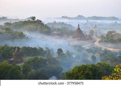 This is famous one of beautiful Mrauk-U pagoda in Myanmar with mist in evening time