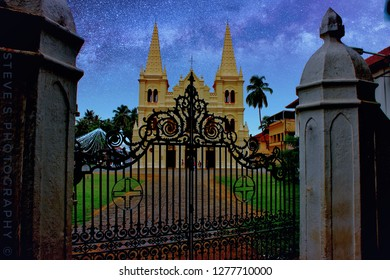 This is the famous Santa Cruz Cathedral Basilica in Kochi (Kerela) Known for its old architectural and artistic grandeur.