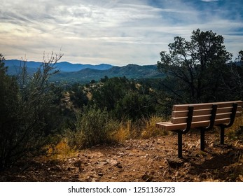 This is a favorite viewpoint on top of the Thumb Butte Trail in Prescott National Forest in Prescott, AZ. It is a great place to sit on the bench and admire the spectacular view of Prescott and beyond