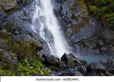 This is the foot of Ellenborough Falls which is a horsetail waterfall on the headwaters of the Ellenborough River in the mid north Coast region of New South Wales, Australia