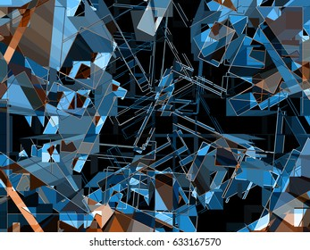 This is a frenetic flurry of geometric forms,  that makes an energetic and dynamic background or standalone image.