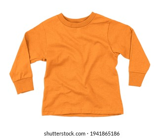 This Front View Amazing Toddler Longsleeve T Shirt Mokup In Flame Orange Color, can help you to implement your extraordinary designs.
