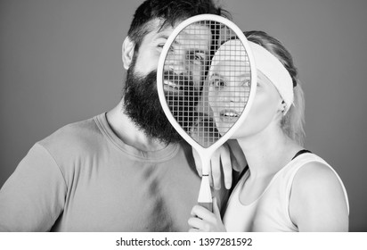 This game is more than hobby. Healthy lifestyle concept. Man and woman couple in love with tennis racket sport equipment. Workout and fitness. Girl and guy play tennis. Couple tennis players.