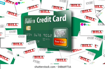 This is a generic, mock debit card  bursting out of an assortment of household bills in envelopes. Paying bills with your credit card? Pitfalls and problems involved.