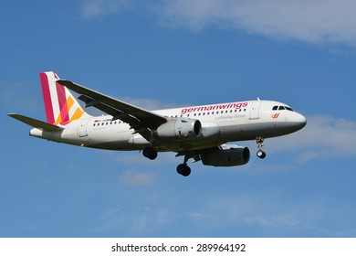 This is the Germanwings airbus A319 / MSN 3839 / D-AGWM approaching the international airport of Zurich, Switzerland. The first flight of the machine was on the 10th of March 2009.