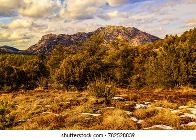 This is Granite Mountain west of Prescott, AZ, at sunset.