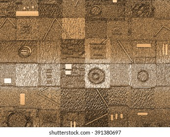 This highly textured geometric abstract background in variations of color has a strong tactile and optical appeal.