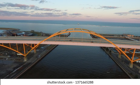 This is the historic Hoan Bridge in Milwaukee Wisconsin. This bridge is a symbol and a famous landmark in Milwaukee. This bridge showcases the color orange which represents Milwaukee as well.