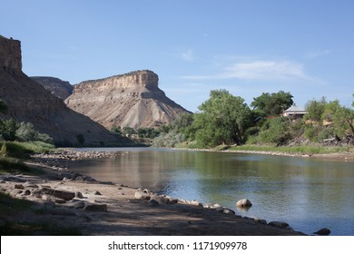 This horizontal color landscape shows the shady bank of  the Colorado River near Palisade on a July afternoon. A butte looms in the background.
