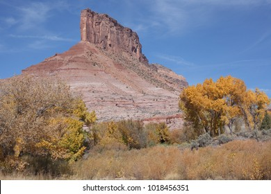 This horizontal photo features a rock formation known as The Palisade at Gateway, Colorado.
