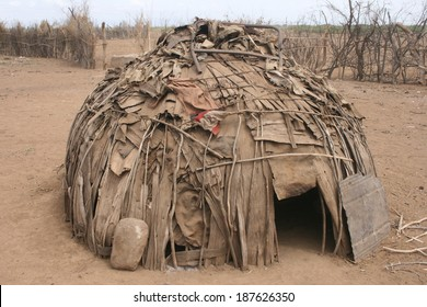 This hut made from debris gathered from a nearby river is typical housing for tribes in southern Ethiopia