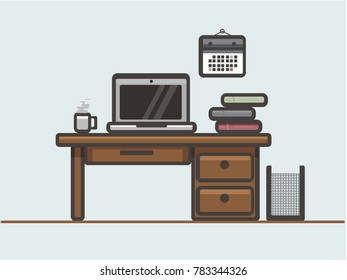 This illustration represents a desk with work tool, as a pc, cup of coffee, and some book.
