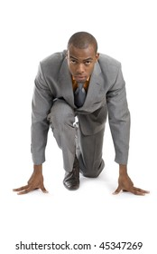This is an image of a business man in ready stance