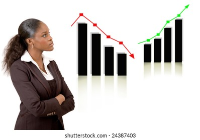 This is an image of a business woman thinking with falling and rising graph in the background. Profit and Loss concept