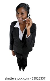 This is an image of a  business woman wearing microphone headset. This image can be used for telecommunication and service themes.