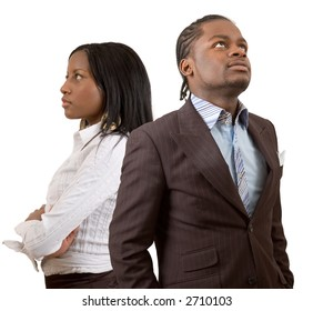 """This is an image of a businessman and businesswoman pondering/thinking. This image can be used to represent """"Thought"""" themes and """"Planning"""" themes."""