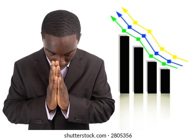 "This is an image a businessman conducting a prayer for prosperity. This image can be used to represent ""Prosperity Prayer"" and ""Financial Success"" themes."
