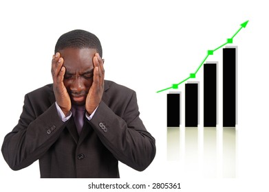 "This is an image of businessman frustrated by the rise in the graph which has affect his company sales. This can be used to represent themes such as ""Competitive Disadvantage"" and ""Negative Impact""."