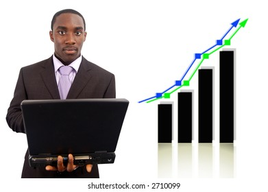 This is an image of a businessman holding a laptop with a graph in the background. This image can be used to represent stock market themes etc..