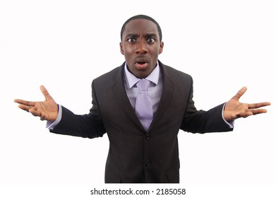 """This is an image of a businessman making a statement of anger. This image can be used to represent """"Protest"""", """"Anger"""" etc.."""