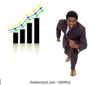 This is an image of a businessman in a ready stance with graph in the background.