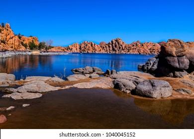 This image was captured near a shallow area of scenic Watson Lake in the Granite Dells of Prescott in Arizona.