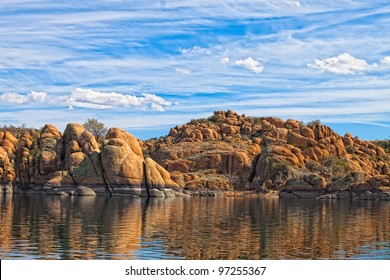 This image captures scenes from Watson Lake in the Granite Dells of Prescott, AZ