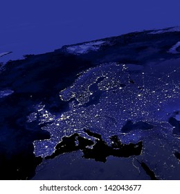 This image of Europe city lights was created with data from the Defense Meteorological Satellite Program (DMSP) Operational Linescan System (OLS). N.A.S.A. Image Edited