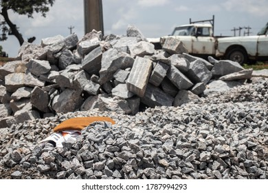 This image features some rocks broken and gathered together for transportation.