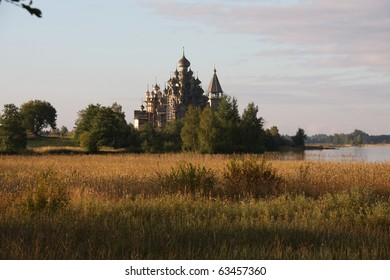 This is an image of Kizhi Cathedral in the Russian Federation.