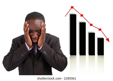 This is an image of a man deeply depressed due to a drop in the graph. This image can be used to represent stock losses, sales losses etc..
