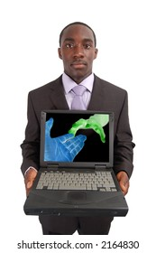 "This is an image of a man holding a laptop, with a conceptual image of a ""Wireless Networking"" taking place. Can also represent ""Network connection""."