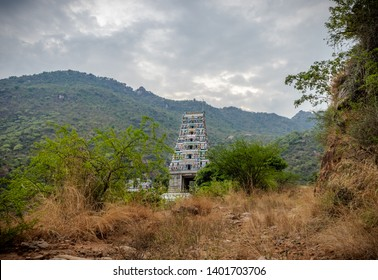 this is the image of marudhamalai Temple coimbatore tamilnadu india. Image is taken with hill in background and bush in front of the temple,