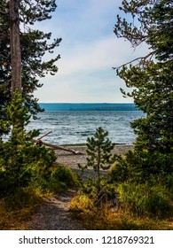 This image of massive Yellowstone Lake in Yellowstone National Park in Wyoming, was taken through a break in the woods.