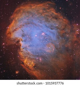 This is an image of NGC2175, also known as the Monkey Head Nebula. It was captured and processed in narrowband. It is an emission nebula about 6,400 light years away in the constellation Orion.
