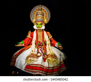 This image is the posture and facial expression of famous indian classical dance kathakali. which is performed at south indian state of kerala.
