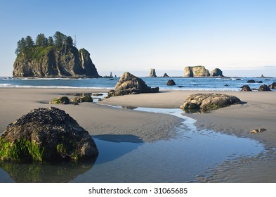 This is an image of Second Beach and it's sea stacks in Olympic National Park as the tide recedes.