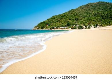 This image shows the beach at  Yelapa in Mexico (Near Puerto Vallarta)