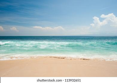 This image shows the idyllic beach at Balangan Beach, Bali