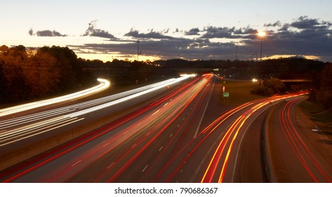 This image shows a long-exposure of the traffic on a highway