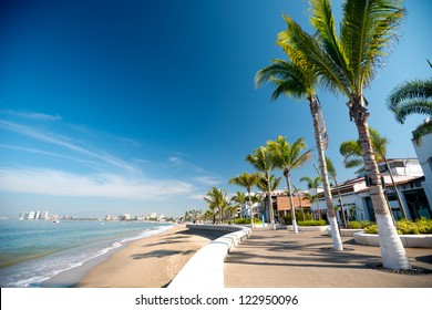 This image shows the malecon in Puerto Vallarta, Jalisco, Mexico